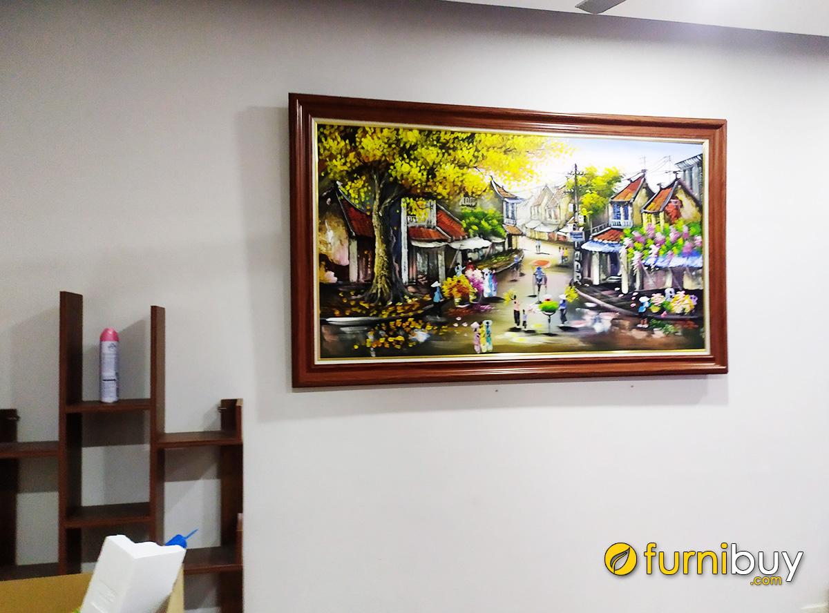 Hình ảnh Tranh vẽ phố cổ Hà Nội xưa treo tường đẹp TSD 521