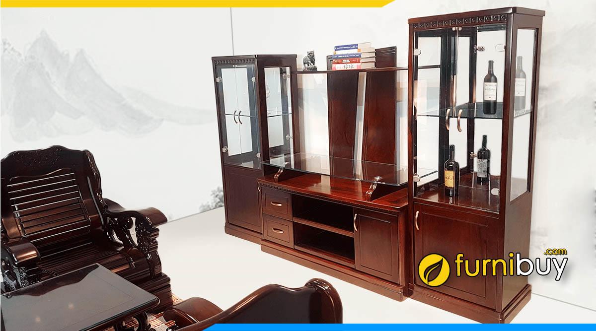 Tủ tivi kết hợp tủ rượu gỗ Hương cao cấp