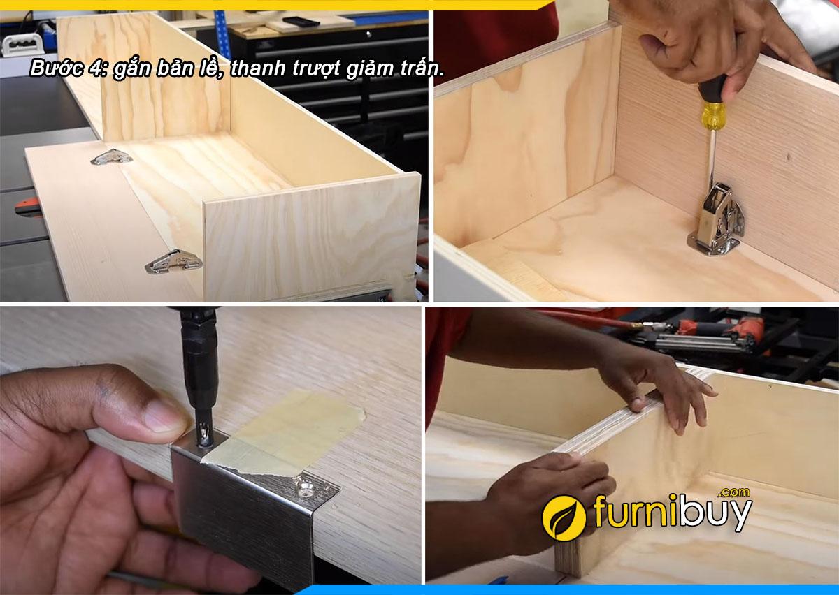 Bước 4: gắn bản lề cửa tủ tivi treo tường