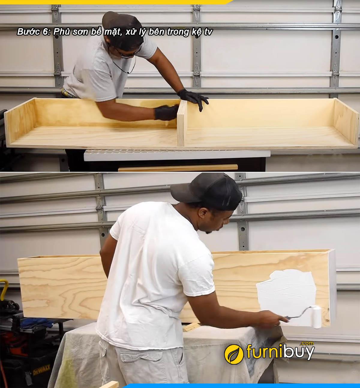 Bước 6: xử lý gỗ và phun sơn bề mặt kệ tivi treo tường
