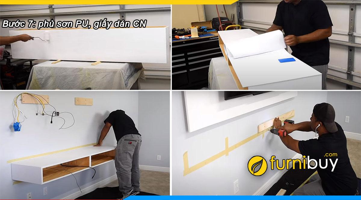 Bước 7: phun sơn công nghiệp cho kệ tivi treo tường chống xước