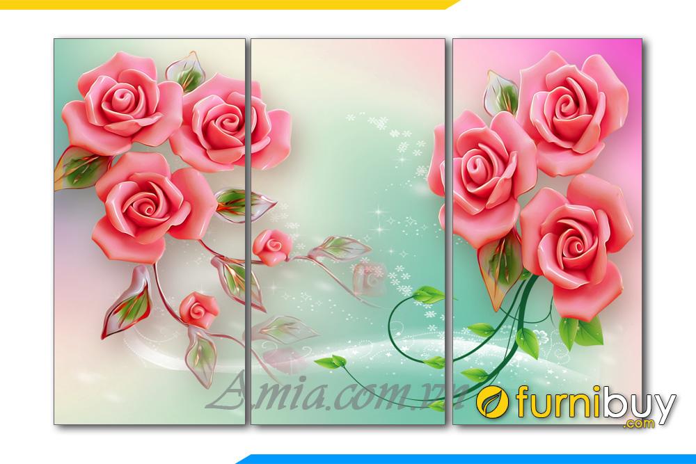 Tranh hoa hong 3D treo tuong phong ngu lang man AmiA 1134