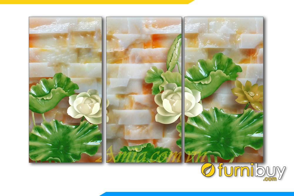 Tranh hoa sen trang tren da 3D treo tuong an tuong amia 1135
