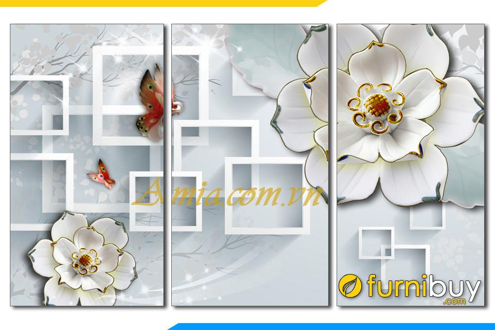 Tranh hoa buom 3D treo phong khach dep hien dai amia 1138
