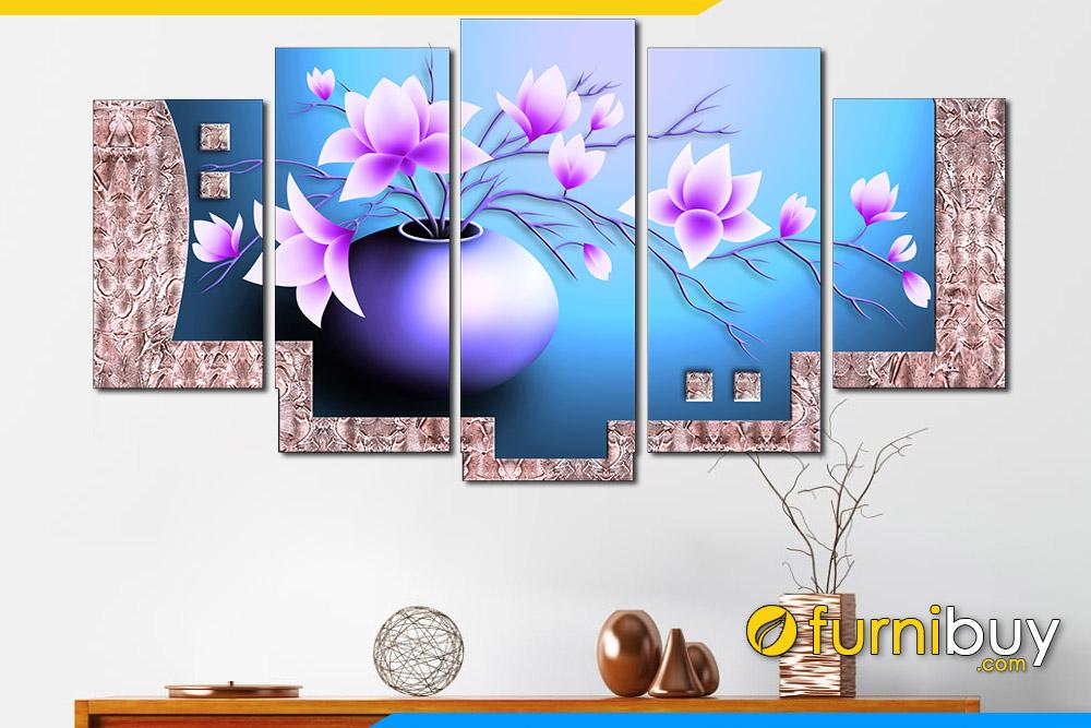 Tranh binh hoa phong thuy mau xanh tim treo tuong amia 1266