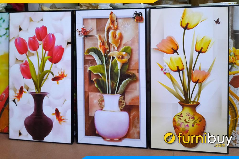 Tranh 3 tam binh hoa tulip tai loc treo tuong