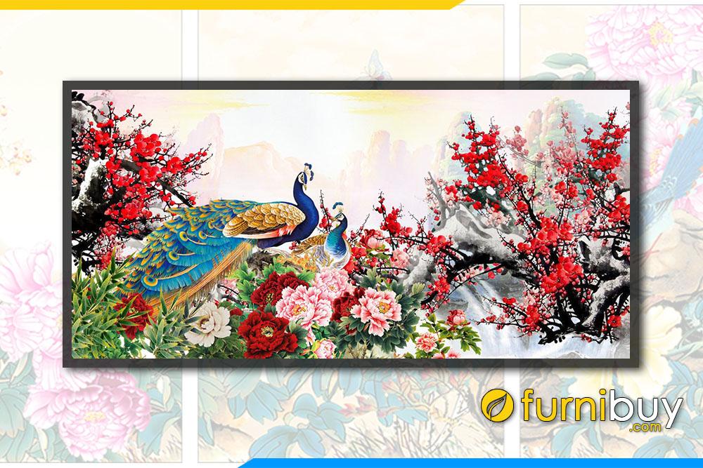 Tranh mua xuan treo tuong phong thuy chim cong mau don hoa dao