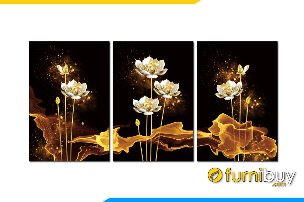 Tranh hoa sen den vang 3D treo tuong dep hop phong thuy amia 1622