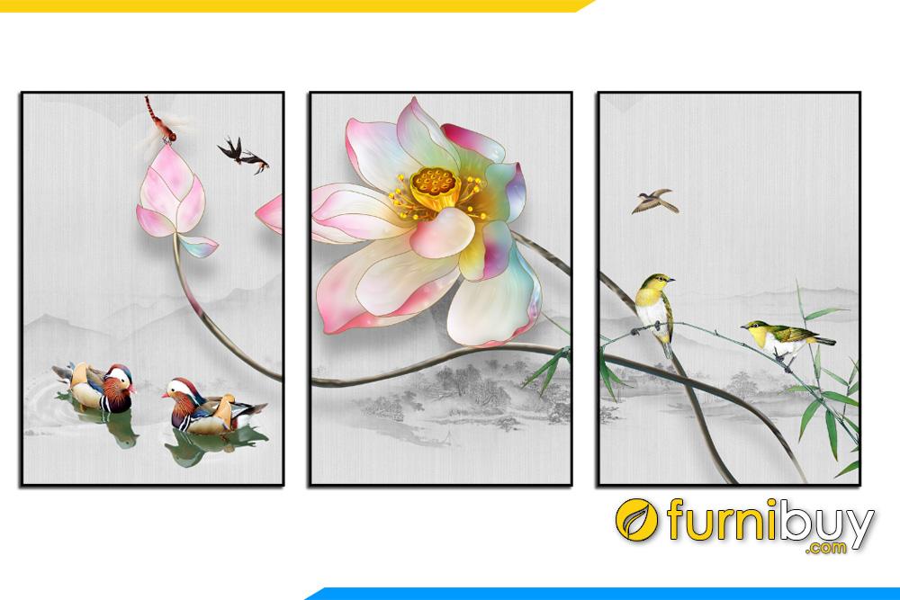 Tranh hoa sen va chim nhan mua xuan 3D bo 3 tam AMiA 1729