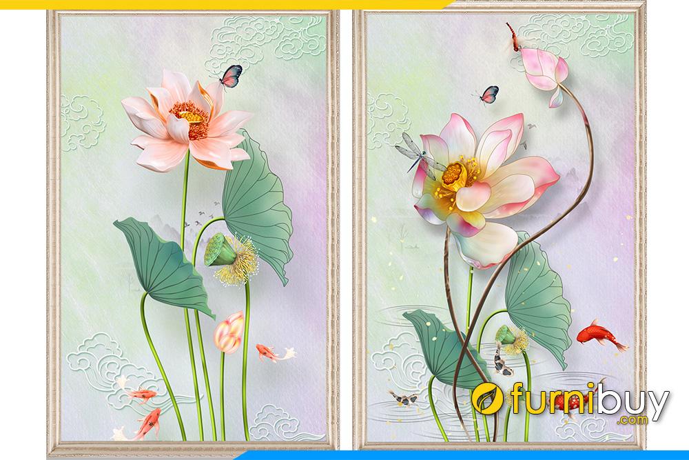Tranh 2 buc hoa sen 3D kho dung dep AmiA 1742 1743