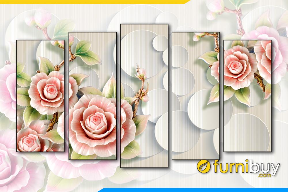 Tranh hoa hong 3D bo 5 tam kho lon 1m5 AmiA 1872