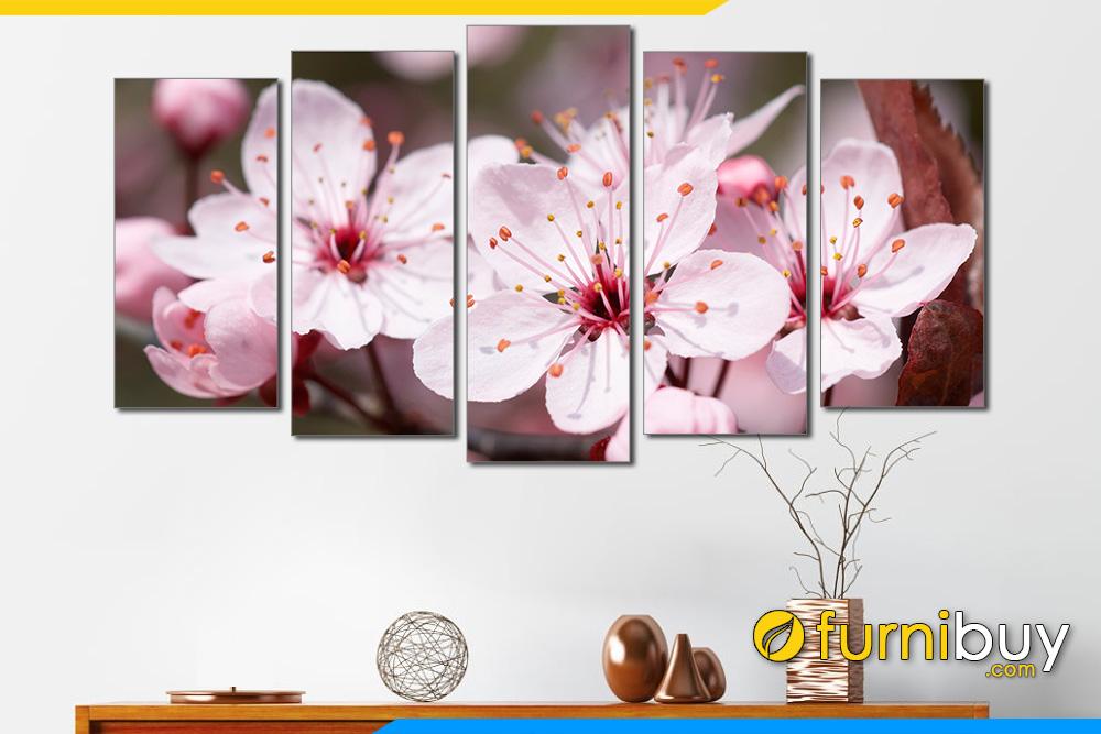 Bo tranh hoa dao no don xuan sum vay amia 332