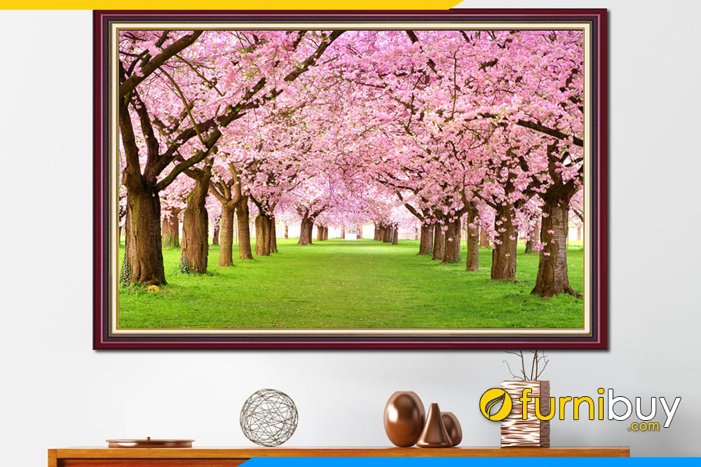 Tranh phong canh hang cay hoa anh dao dep amia 342