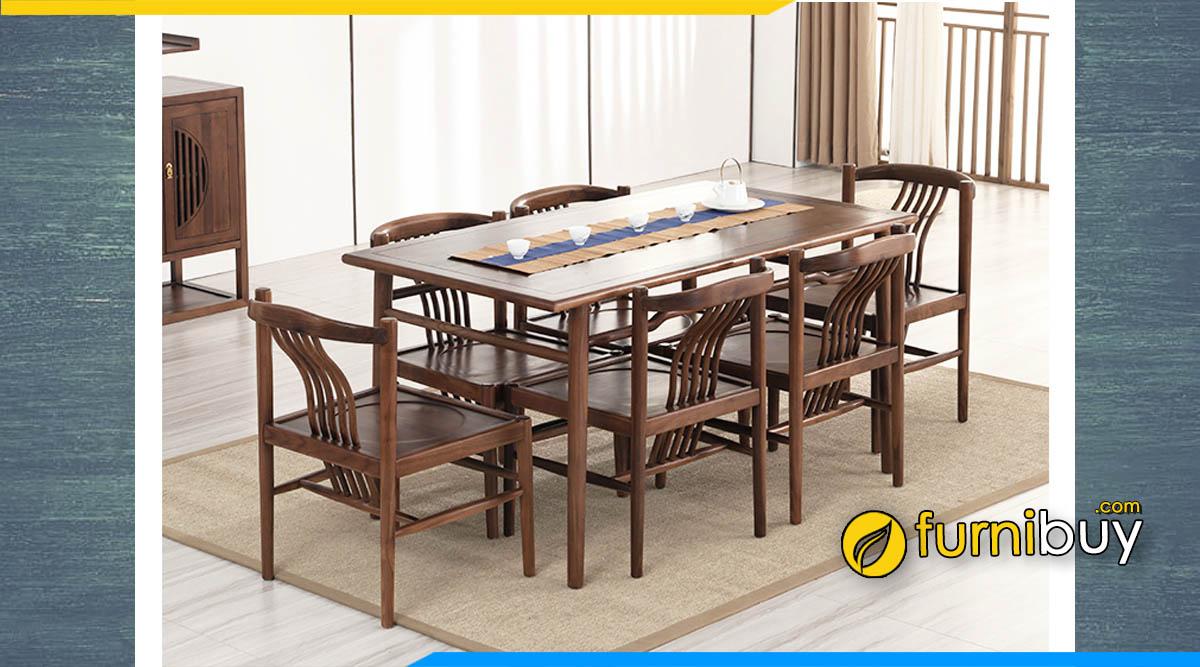 Hình ảnh mẫu bàn ăn 6 ghế gỗ óc chó hiện đại cho nhà phố