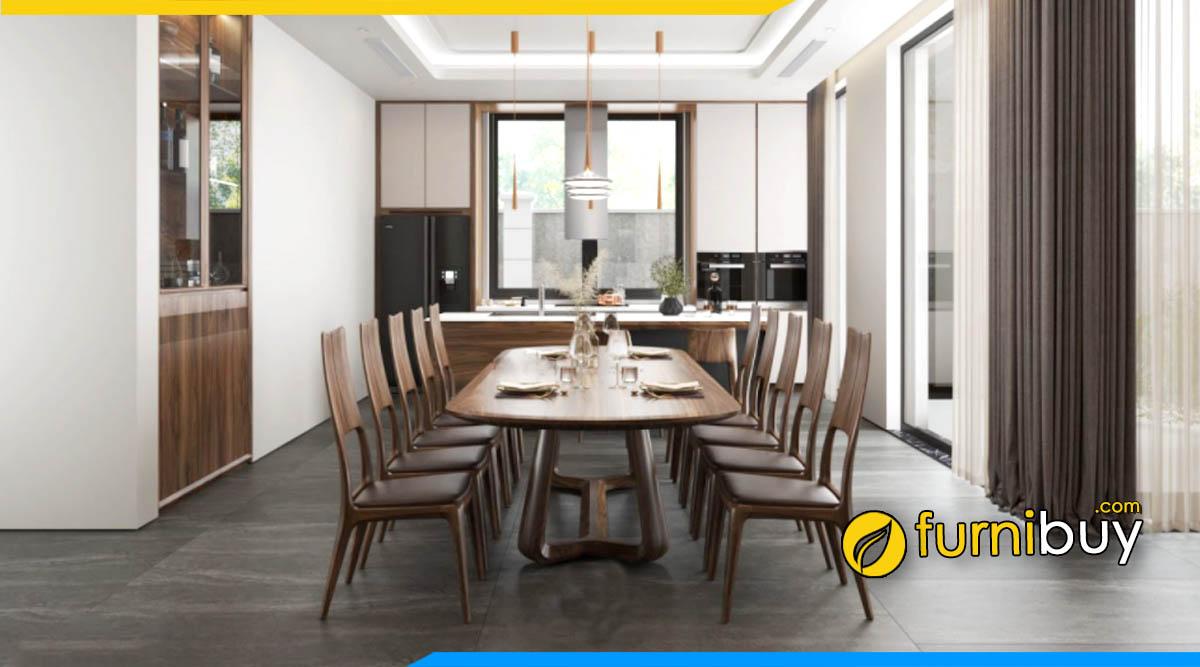 Hình ảnh bàn ăn 6 ghế gỗ óc chó bầu dục hà nội đẹp