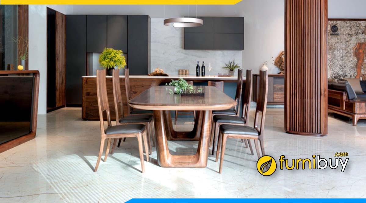 Hình ảnh bộ bàn ăn 6 ghế gỗ óc chó sang trọng cho biệt thự