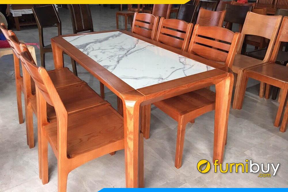 Hình ảnh bộ bàn ăn 6 ghế gỗ sồi nga mặt đá đẹp màu cánh gián hiện đại