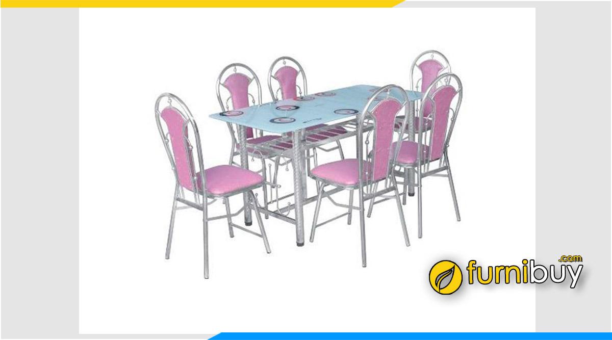 Hình ảnh Bộ bàn ăn Inox 6 ghế cho gia đình