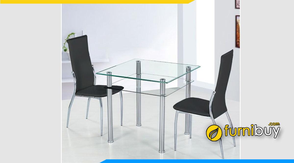 Hình ảnh Mẫu bàn ăn mặt kính 2 ghế nhỏ gọn