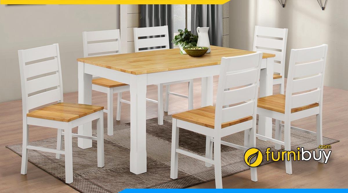 Hình ảnh bàn ăn màu trắng 6 ghế gỗ sồi đẹp