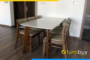 Hình ảnh Bộ bàn ghế ăn 6 chỗ gỗ sồi mặt đá hiện đại BA045