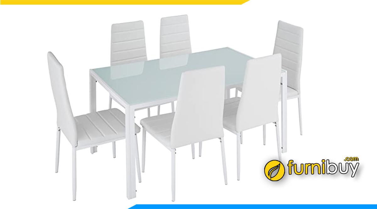 Hình ảnh Bàn ghế ăn 6 chỗ màu trắng đẹp mặt kính hiện đại