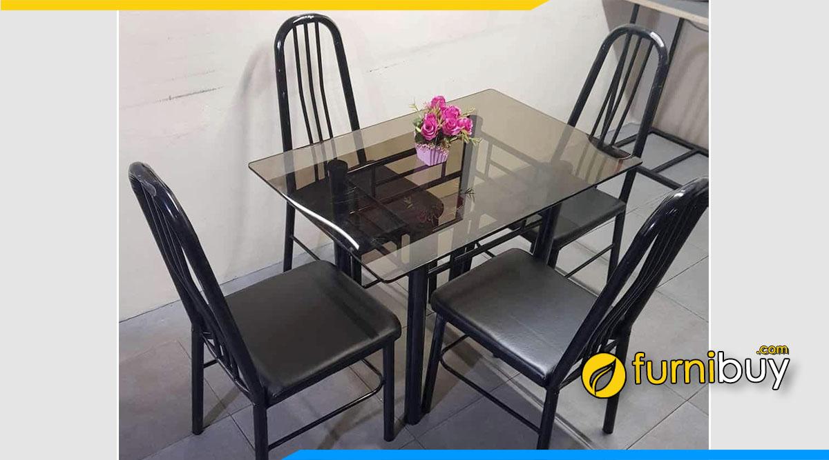 Hình ảnh Bộ bàn ăn 4 ghế kính cường lực giá rẻ Xuân Hòa