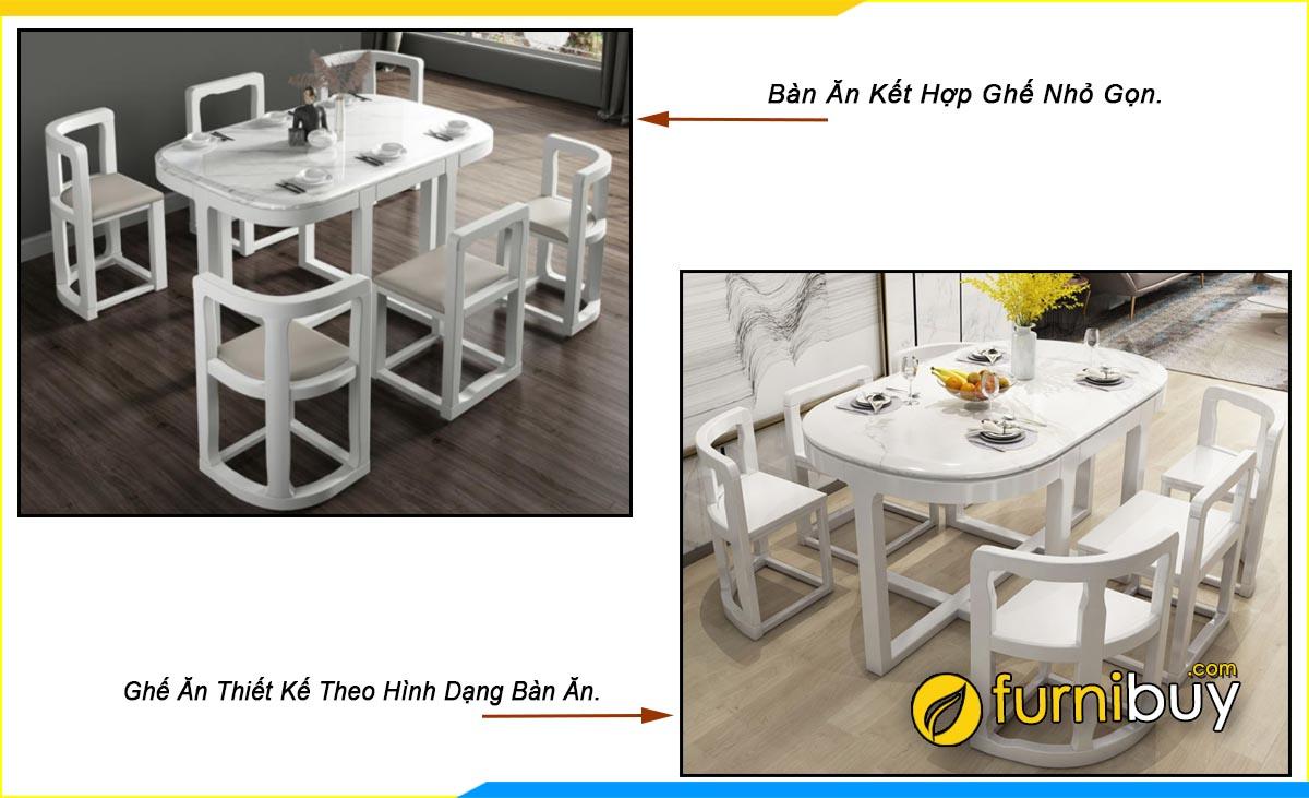 Hình ảnh bộ bàn ăn 6 ghế chân sắt nhỏ đẹp bầu dục