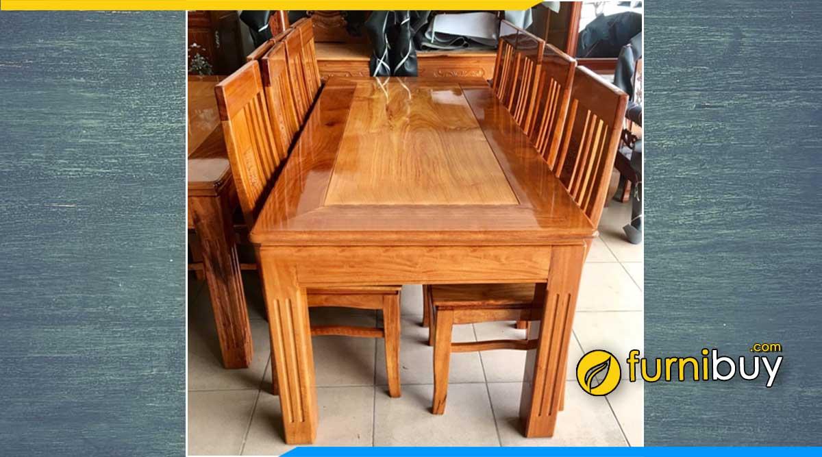 Bộ bàn ăn 6 ghế gỗ căm xe mặt gõ đỏ hình chữ nhật đẹp