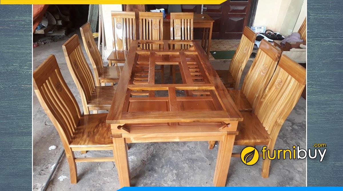 Hình ảnh Bộ bàn ăn 6 ghế gỗ dổi chun tự nhiên cao cấp