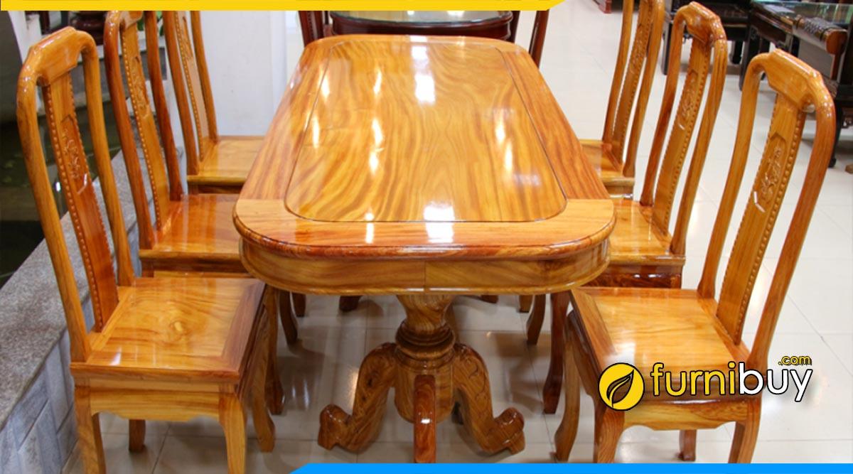 Hình ảnh Bộ bàn ăn 6 ghế gỗ gõ đỏ cao cấp
