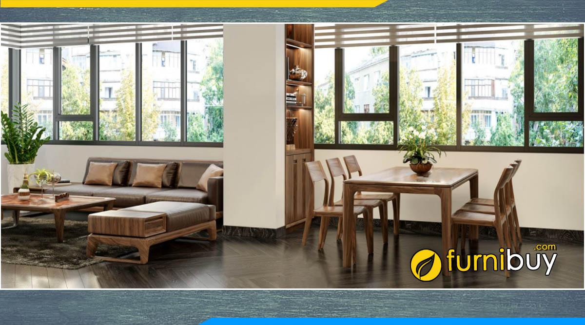 Hình ảnh bộ bàn ăn 6 ghế gỗ óc chó đẹp kết hợp ghế sofa phòng khách