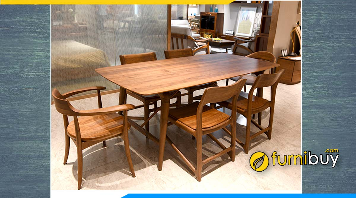 Hình ảnh bộ bàn ăn 6 ghế gỗ óc chó chữ nhật đẹp