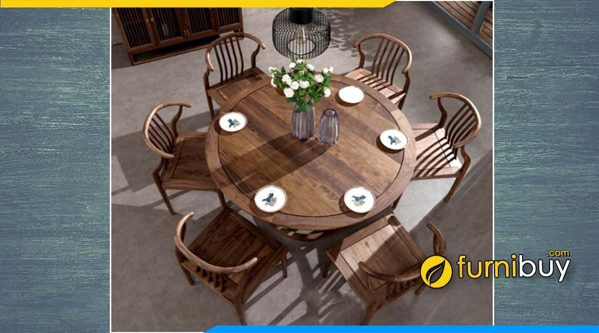Hình ảnh bộ bàn ăn 6 ghế gỗ óc chó tròn đẹp