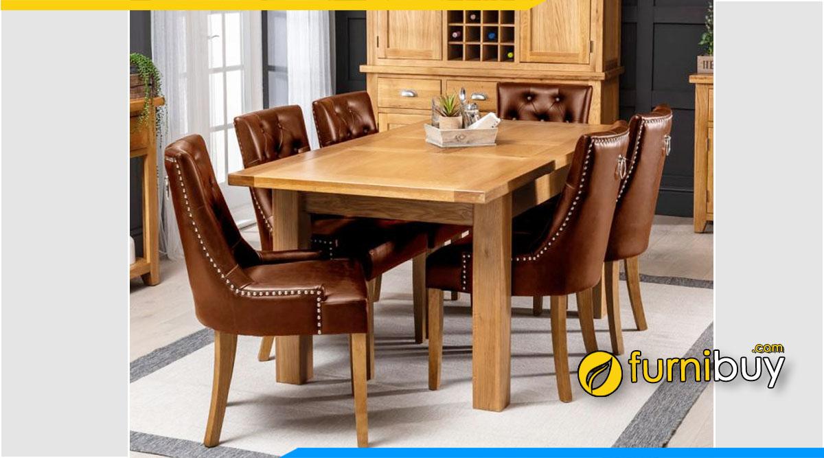 Bộ bàn ăn 6 ghế gỗ sồi Mỹ giá khoảng 20 triệu