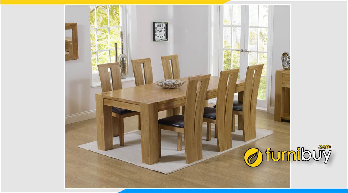 Bộ bàn ăn 6 ghế gỗ sồi Mỹ cao cấp khoảng 35 triệu