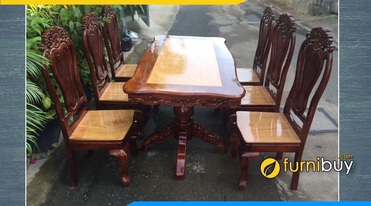 Hình ảnh Bộ bàn ăn 6 ghế gỗ tràm bông vành tự nhiên