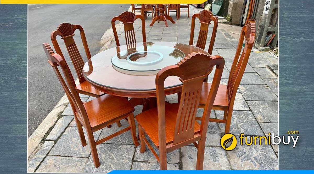 Hình ảnh bộ bàn ăn 6 ghế gỗ xoan đào tự nhiên tròn đẹp