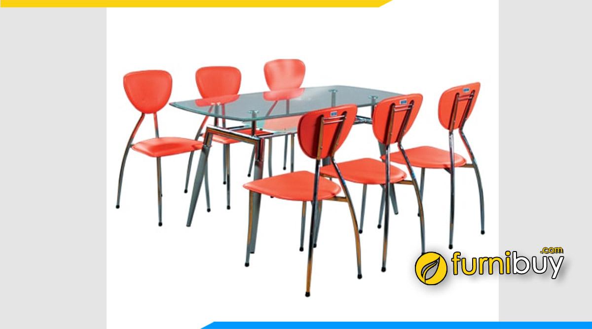 Hình ảnh Bộ bàn ăn 6 ghế kính cường lực Hòa Phát giá rẻ