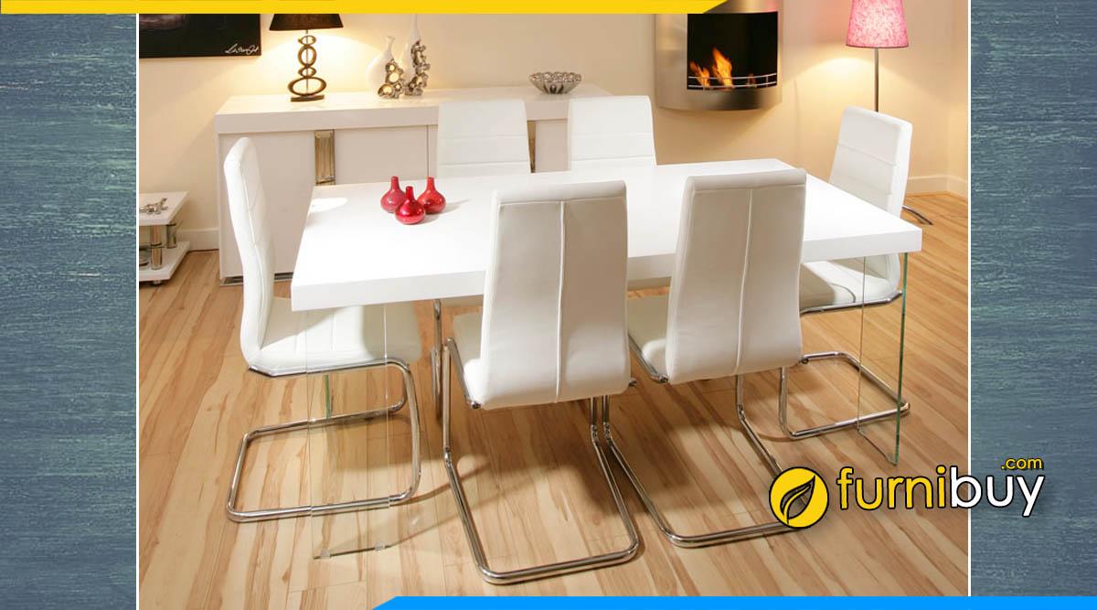 Hình ảnh Bộ bàn ăn 6 ghế màu trắng nệm da chân quỳ