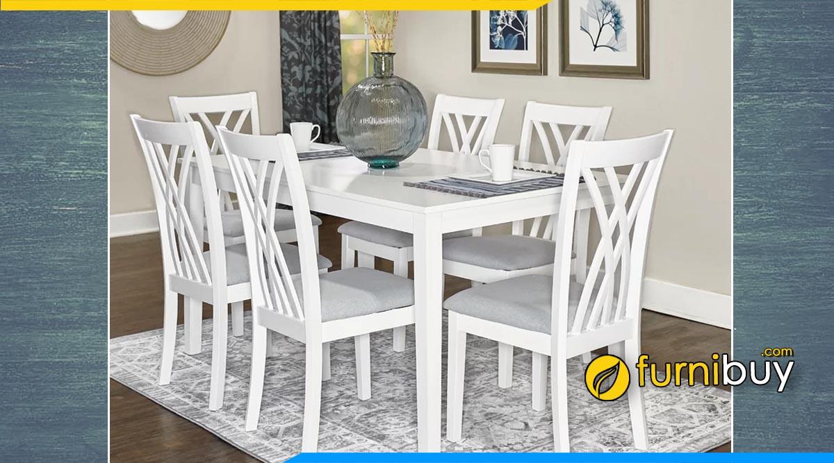 Hình ảnh Bộ bàn ăn 6 ghế màu trắng phong cách Châu Âu