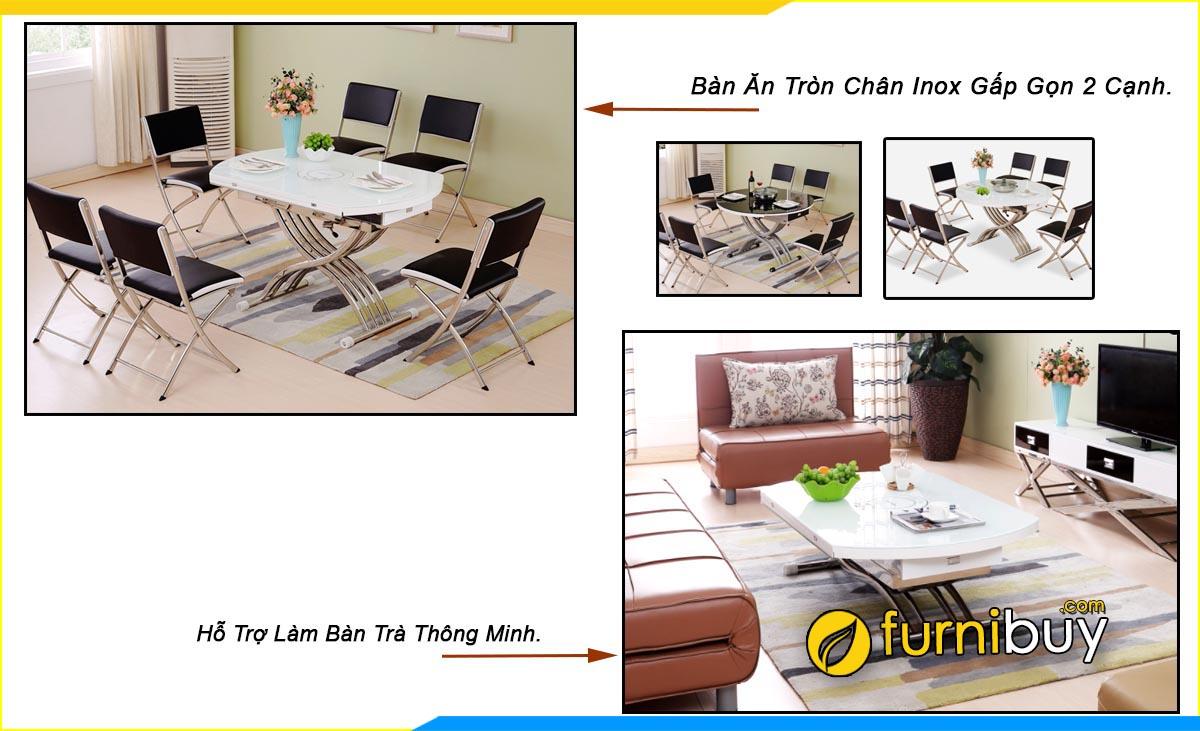 Hình ảnh Bộ bàn ăn 6 ghế nhỏ gọn kết hợp bàn uống trà thông minh