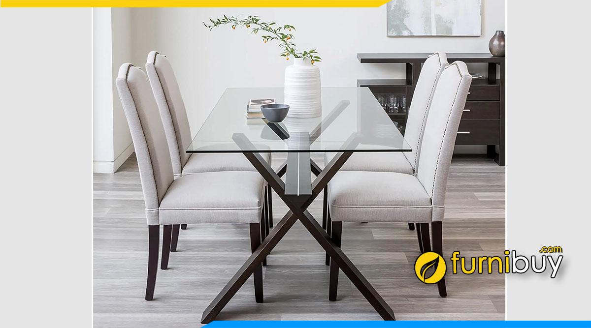 Hình ảnh Bộ bàn ăn kính chịu lực chân gỗ tự nhiên