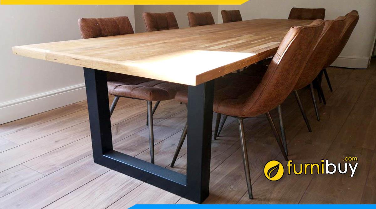 Hình ảnh Bộ bàn ăn mặt gỗ chân sắt hiện đại