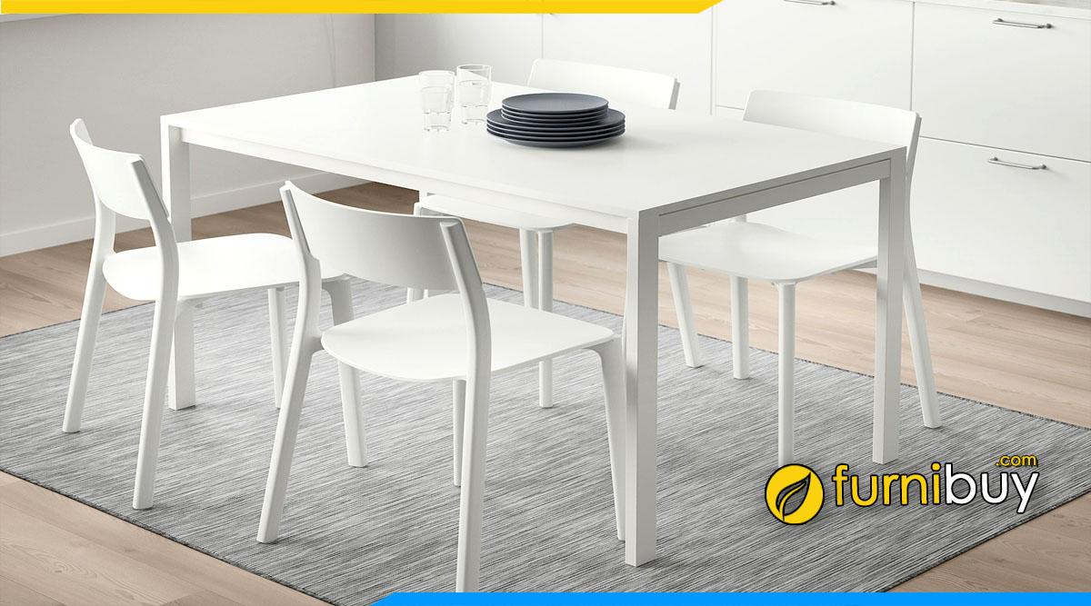 Hình ảnh Bộ bàn ăn màu trắng đẹp hiện đại 4 ghế