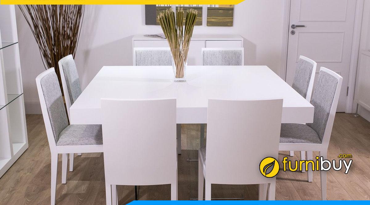 Hình ảnh Bộ bàn ăn màu trắng hình vuông hiện đại