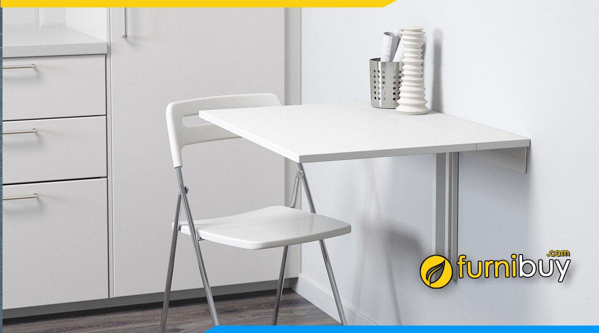 Hình ảnh Bộ bàn ăn màu trắng nhỏ gọn treo tường