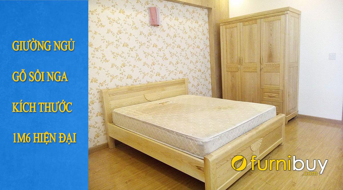 các mẫu giường gỗ sồi nga 1m6 được yêu thích hiện nay
