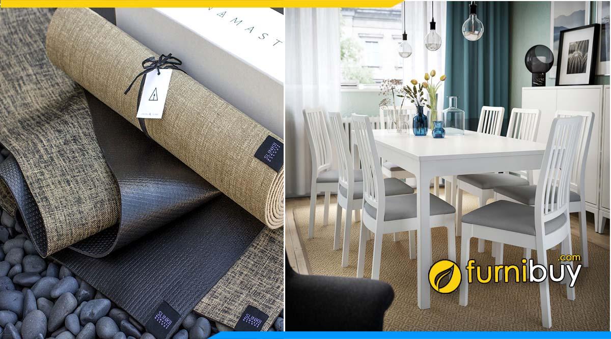 Chọn thảm bàn ăn màu trắng phù hợp cho phòng bếp