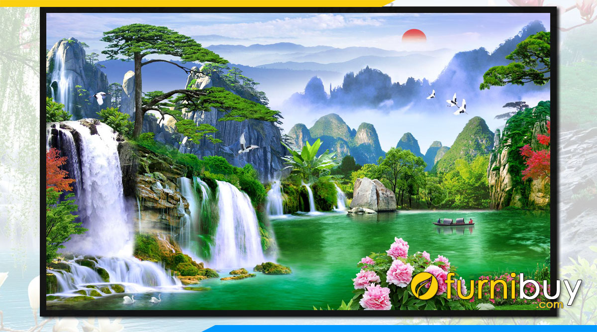 Tranh phong canh thac nuoc chay song xanh trung quoc fb st121